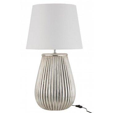 Lampe Lignes + Abat-Jour Ceramique Argent