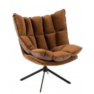 Chaise Relax Coussin Sur Pied Textile/Métal Marron
