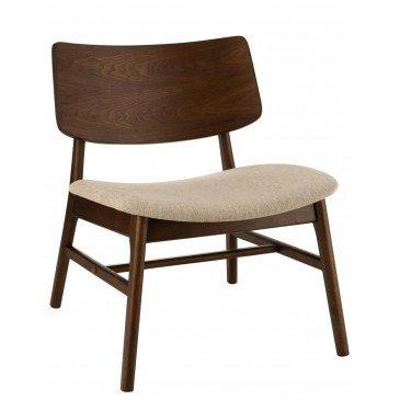Chaise Lounge Ken Vintage Bois Hevea Brun/Beige