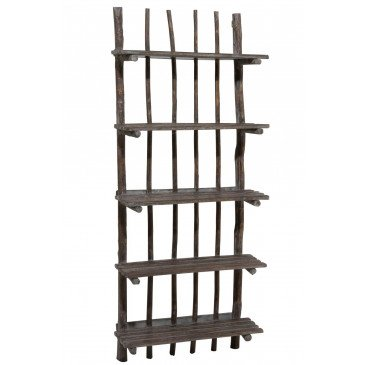 Etagere Murale 5 Planches Bois Chene Chinois Brun Fonce