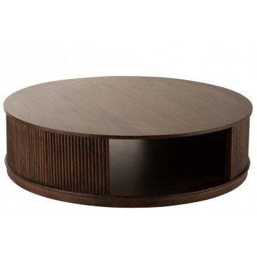 Table Salon Reyi Sur Roues Bois Manguier Brun Fonce