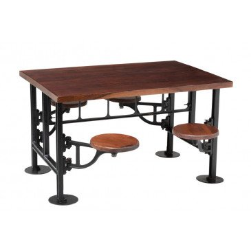 Table+ 4 Chaises Tournantes Bois Manguier/Métal Brun/Noir