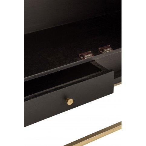 Armoire Bar 2 Portes 2 Tiroirs Miroir Bois Manguier Noir/Or