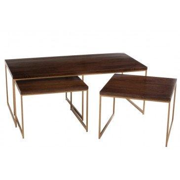 Table Salon Rafi 3Parties Fer/Bois Manguier Or/Brun Fonce