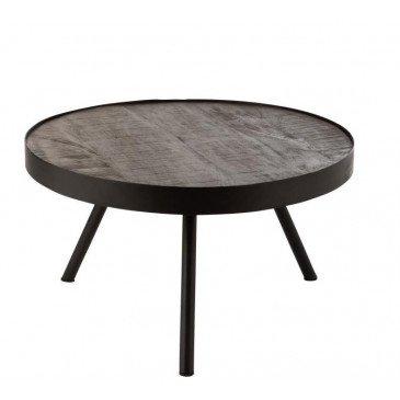 Table Gigogne Fien Bas Bois Manguier Fer Brun Fonce Noir
