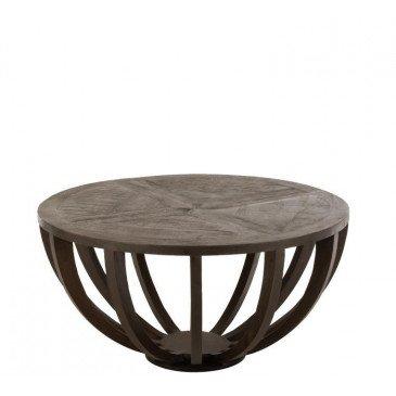 Table Salon Emil Rond Bois Manguier Brun Fonce