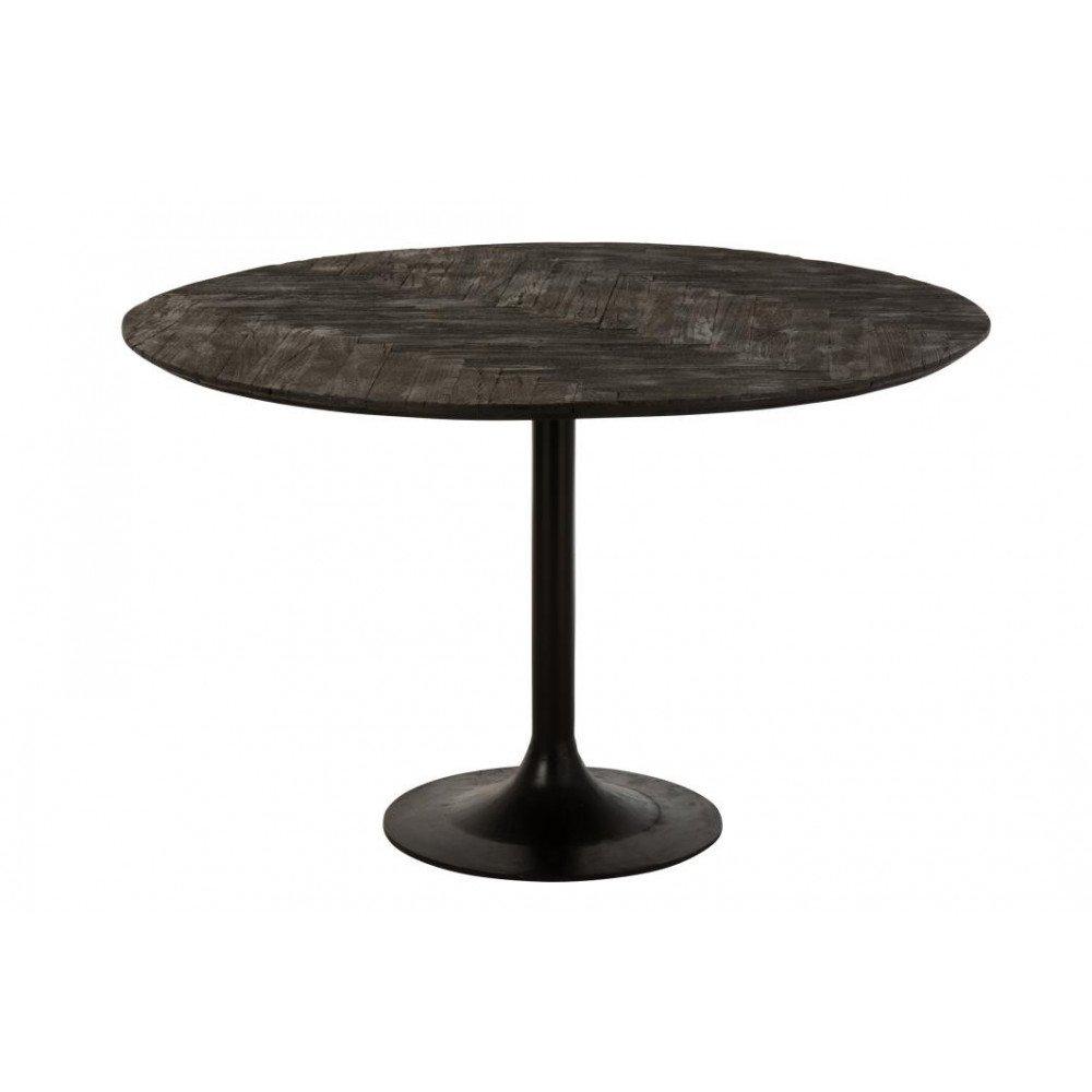 Table A Manger Grub Rond Bois Flotte Fer Noir
