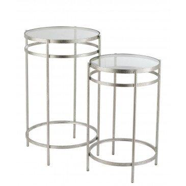 Set 2 Tables Gigognes Laure Miroir Fer Argent