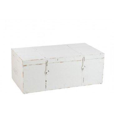Coffre Rectangulaire Bois/Fer Forge Blanc