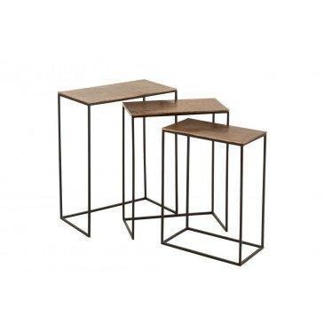 Set 3 Table Gigogne Rectangulaire Aluminium Rouille