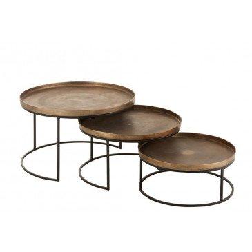 Set 3 Table Gigogne Ronde Aluminium Rouille