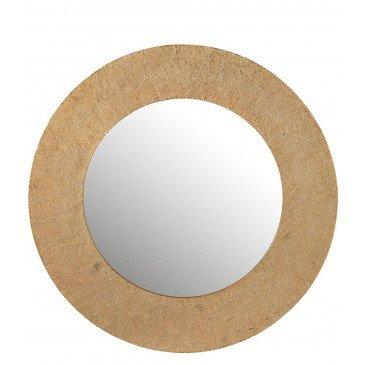 Miroir Effet Jute Aluminium Or Large