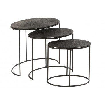 Set 3 Table Gigogne Effet Jute Aluminium Noir
