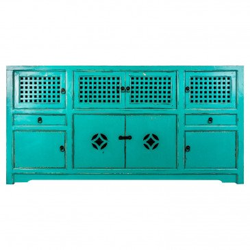 Buffet Bois Recyclé Style Oriental Turquoise Malton