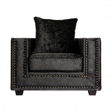 Fauteuil Bois et Tissu Style Classique Noir Colne