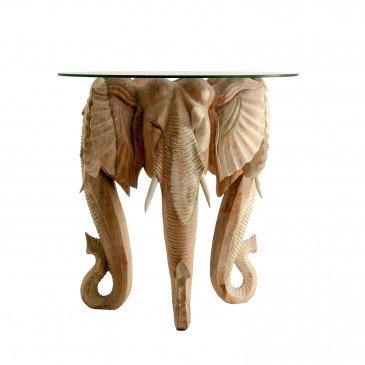 Table Basse Teck et Verre Style Ethnique Naturel Ely