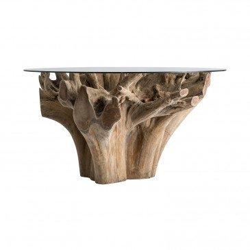 Table Racine de Teck et Verre Style Ethnique Naturel Imatra