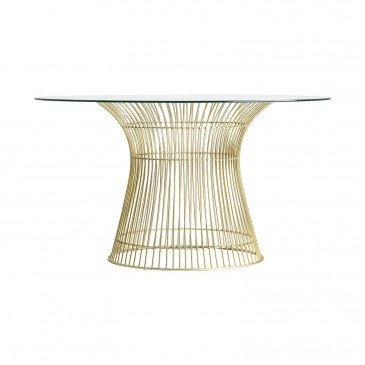 Table Rectangle Fer et Cristal Style Art-Déco Doré Prescot
