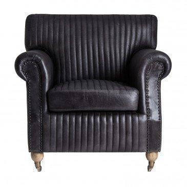 Fauteuil Cuir et Mousse et Bois Style Vintage Noir Grimsby