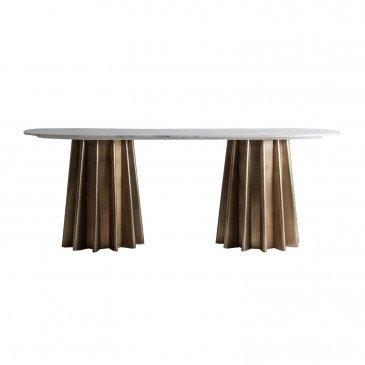 Table Marbre et Acier Style Classique Blanc et Doré Lizy