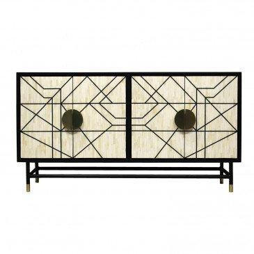 Buffet Fer et Os Style Art-Déco Blanc et Noir Darvel