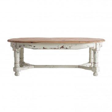 Table Basse Bois Recyclé Style Contemporain Naturel et Blanc Denny
