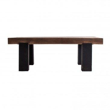 Table Basse Bois Recyclé Style Colonial Noir et Naturel Ware
