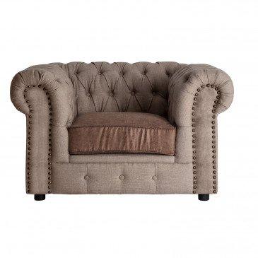 Fauteuil Tissu Style Vintage Marron et Beige Leyburn