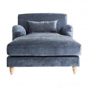 Chaise Bois et Velours Style Classique Bleu Dalby