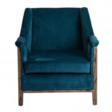 Fauteuil Bois Tropical et Velours Style Colonial Bleu Pétrole Kelso