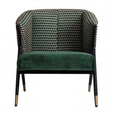 Fauteuil Bois et Velours Style Contemporain Vert Boldon