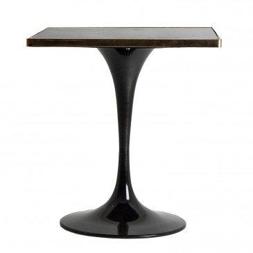 Table de Bar Pierre et Métal Vintage Noir et Doré Than L