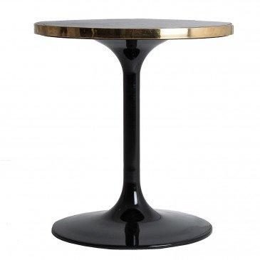 Table de Bar Pierre et Métal Vintage Noir et Doré Than S