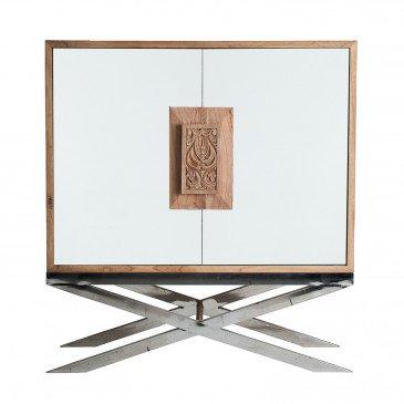 Armoire Bois et Miroir Style Oriental Naturel et Argent Emmen