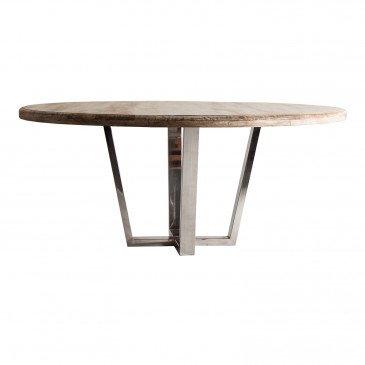 Table Ronde Bois et Acier Style ContemporainTelford