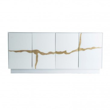 Buffet Cristal Style Art-Déco Blanc et Doré Callander