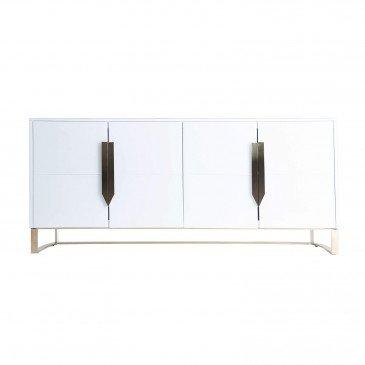 Buffet Miroir et Acier Style Art-Déco Blanc et Doré Killin