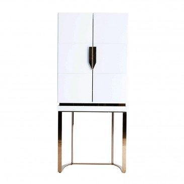 Armoire Miroir et Acier Style Art-Déco Blanc et Doré Killin