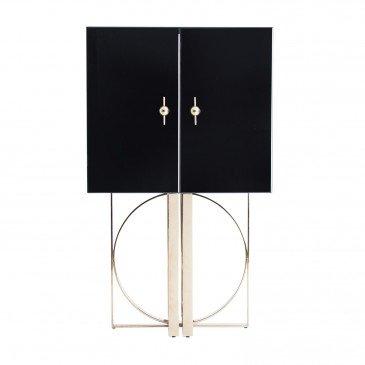 Armoire Miroir Style Doré et Noir Ledbury