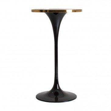 Table de Bar Métal et Pierre Style Vintage Noir et Doré Carlisle