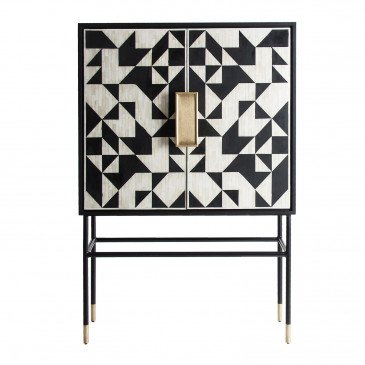 Armoire Fer et Os Style Art-Déco Noir et Blanc Stanley
