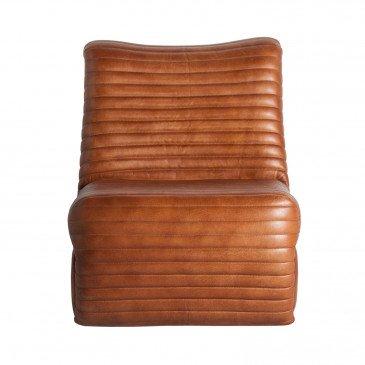Fauteuil Cuir et Fer Style Vintage Marron Alston