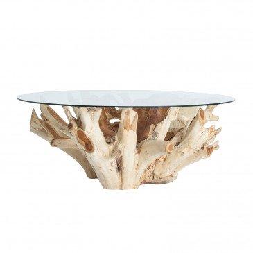 Table Basse Teck et Cristal Style Ethnique Naturel Gages