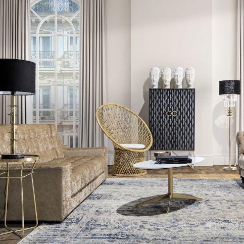 Canapé Bison Style Classique en Pin et Polyester Orta | www.cosy-home-design.fr