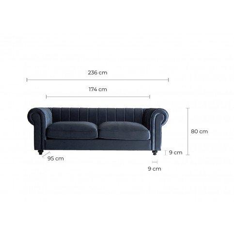 Canapé Bleu Style Classique en Pin et Polyester Pujol | www.cosy-home-design.fr