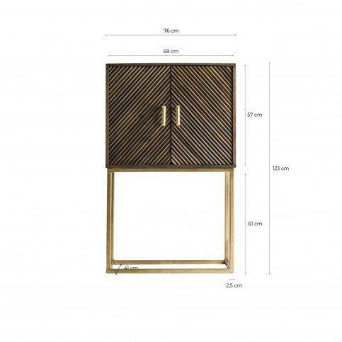 Meuble Bar Design en Bois et Fer Marron et Doré Jakob | www.cosy-home-design.fr