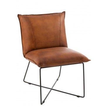 Chaise Lounge Avi Cuir et Fer Cognac