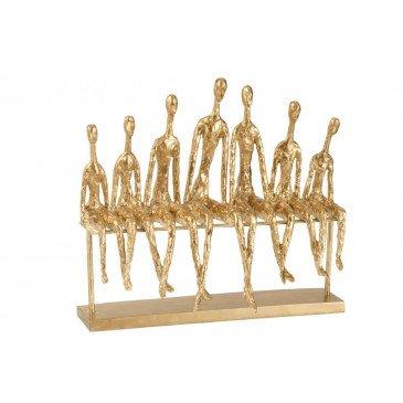 Figurine 7 Personnes Assises Sur Banc Résine Or