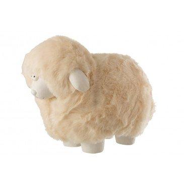 Mouton Décoratif Peluche Résine Blanc