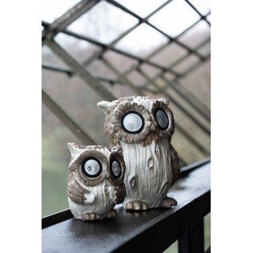 Figurine Décorative de Noël Hibou Solaire Ceramique Marron Large